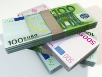 钞票堆欧元 库存图片