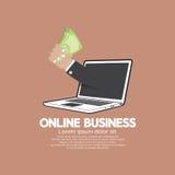 钞票手中网上企业概念 免版税库存图片