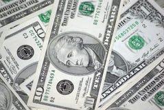 钞票接近的美元十  图库摄影
