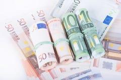 钞票概念性货币欧元五十五十 免版税图库摄影