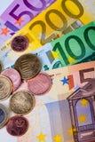钞票概念性货币欧元五十五十 库存图片