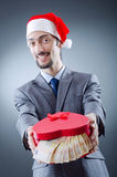 钞票欧元圣诞老人 库存图片