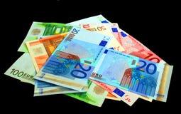 钞票欧元堆 库存图片
