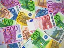 钞票欧元堆 库存照片