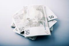 钞票欧元堆 免版税库存图片