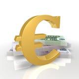 钞票欧元符号 库存照片