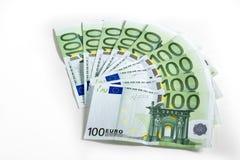 钞票欧洲超出白色 免版税库存图片