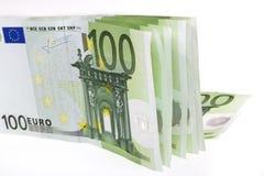 钞票欧洲超出白色 免版税图库摄影