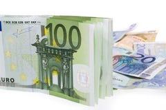 钞票欧洲超出白色 免版税库存照片