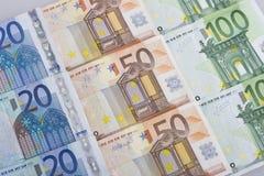 钞票欧洲超出白色 库存照片