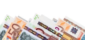 钞票毗邻欧元 免版税图库摄影