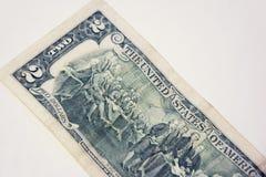 钞票的后部是两美元 免版税库存图片