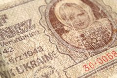 钞票的片段五卢布法西斯主义的职业 免版税库存图片