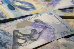 从钞票的背景100卢布向索契2014 免版税库存照片