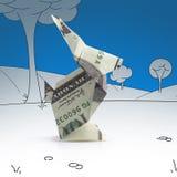 从钞票的Origami野兔 库存照片