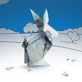 从钞票的Origami野兔 免版税库存图片