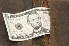 钞票皮革钱包 免版税图库摄影