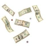 钞票硬币美元 库存照片