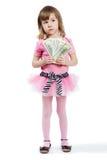 钞票美元女孩递一点 库存图片