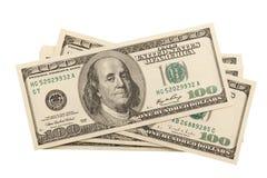 钞票美元hudnred一堆s 库存照片