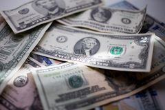 钞票美国美元,一百,五十,二十,两,一美元,关闭 免版税库存图片