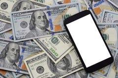 钞票背景$ 100,老和新的拷贝和细胞 免版税库存照片