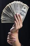 钞票风扇 库存照片