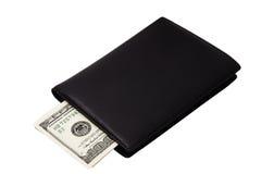 钞票黑色钱包 库存照片