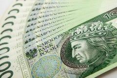 钞票100 PLN 库存照片