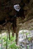 钟乳石和孔在屋顶在入口对Los Tres Ojo 免版税图库摄影