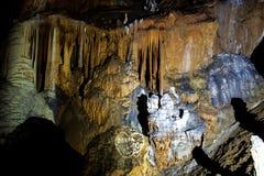钟乳石和石笋在洞 库存照片