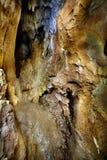 钟乳石和石笋特写镜头  免版税库存照片