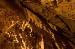 钟乳石在东方狐鲣的Mateus洞穴 图库摄影