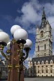 钟楼和布料霍尔在跟特-比利时 图库摄影