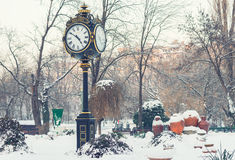 钟楼在Cismigiu公园,冬天季节的布加勒斯特 免版税库存图片