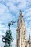 钟楼塔在安特卫普 免版税库存照片