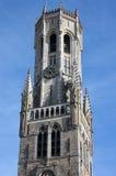 钟楼塔在布鲁日,比利时 免版税库存照片