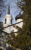 钟楼的尖顶和假定大教堂Svyatogorsk修道院的圆顶 普希金山 库存图片