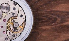 钟表机构特写镜头 免版税库存照片
