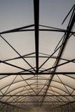 钢和塑料胶膜温室结构  图库摄影
