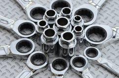 钢插口集合和板钳 免版税库存照片