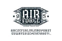钢板蜡纸板材细体字体和空军象征 向量例证