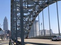 钢桥梁在克利夫兰钢  免版税库存照片