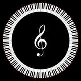 钢琴关键字圈子  免版税库存照片