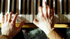 钢琴演奏家执行弹一架大平台钢琴 接近的现有量 专业钢琴演奏家 股票视频
