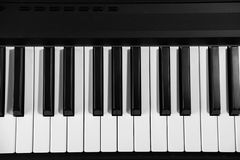 钢琴锁上黑白的顶视图 库存照片