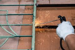 钢的焊接的工作 库存照片