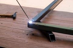 钢的焊接的工作 图库摄影