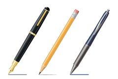 钢笔、铅笔和圆珠笔图画线 免版税库存照片