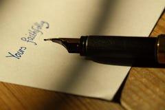 钢笔信件B 图库摄影